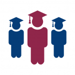 Ikona 3 studentów pierwszy z przodu w kolorze purpurowy, dwaj z tyłu po bokach w kolorze niebieskim